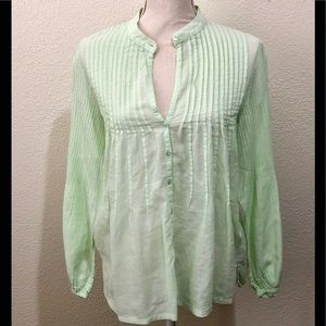 Soft Surrounding Green Pintuck Pleated Blouse